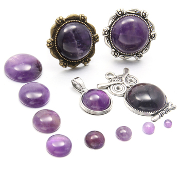 Natural Stone Amethyst Cabochon Beads Flat Back Round No Hole Loose Beads For jewelry making DIY Ring Necklace accessories natural stone coral beads round shape loose beads isolation beads for jewelry making diy for bracelet necklace accessories