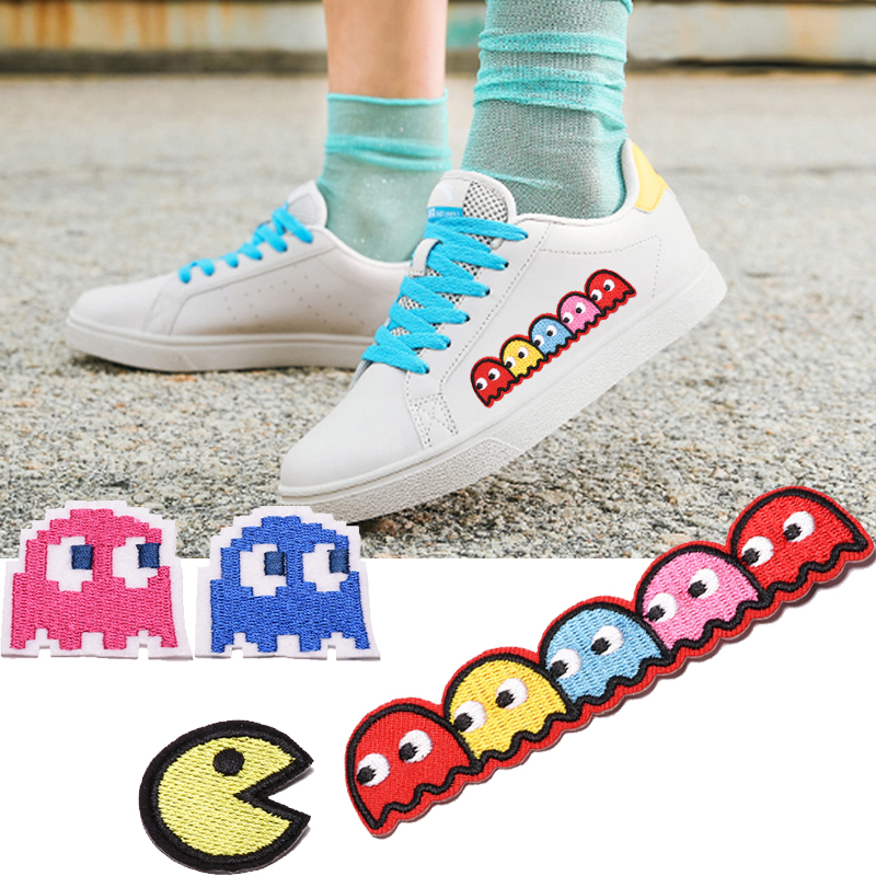 1Pcs Pac-man Embroidered patch iron on patches Cartoon Motif Classic retro game cute style DIY children clothes pants decorative