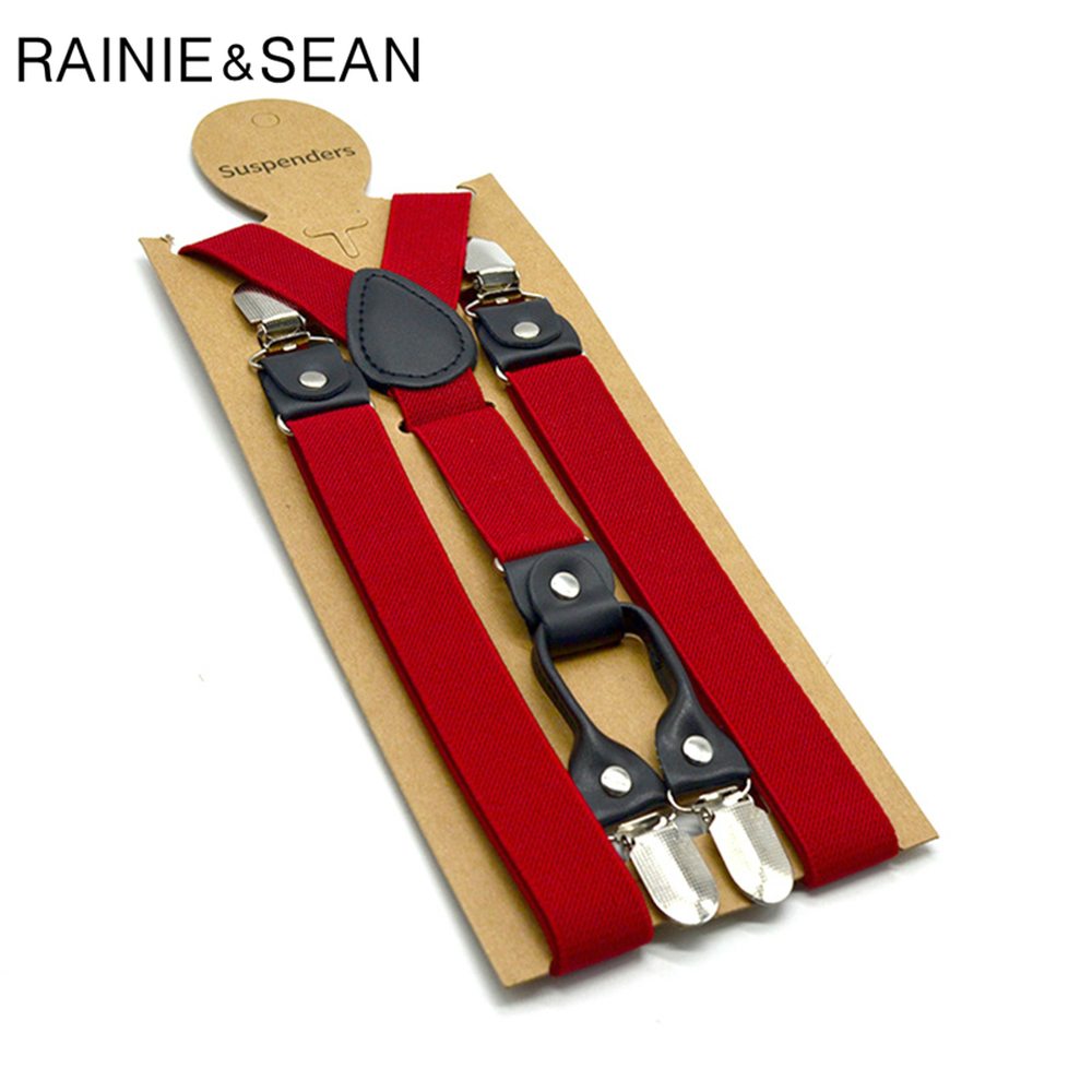 RAINIE SEAN Red Mens Suspenders Braces Solid Women Suspender Pants 120cm Trouser Braces 4 Clips Elastic Male Suspender Belt