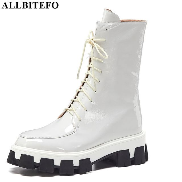 ALLBITEFO high quality genuine leather high heels platform women boots new winter gils shoes ankle boots for women girls boots