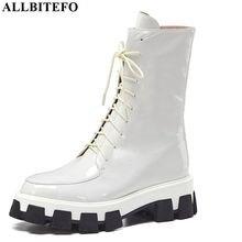 ALLBITEFO جودة عالية جلد طبيعي عالية الكعب منصة أحذية النساء جديد الشتاء gils أحذية حذاء من الجلد للنساء الفتيات الأحذية