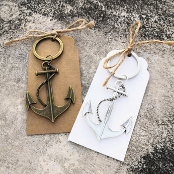 50pcs Custom Wedding Favors Party Gifts Birthday Gifts Ocean sailing boat Anchor Key chain with Personalized Thank you gifts