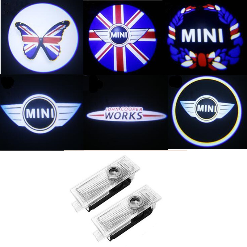 For Mini Cooper One S JCW R52 R55 R56 R58 R59 R60 F55 F56 F60 Countryman Car Courtesy Logo Light Projector LED Car Accessories