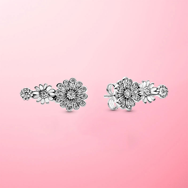 High Quality 925 Sterling Silver Sparkling Daisy Flower Trio Stud Earrings For Women Silver S925 Original Fashion Jewelry
