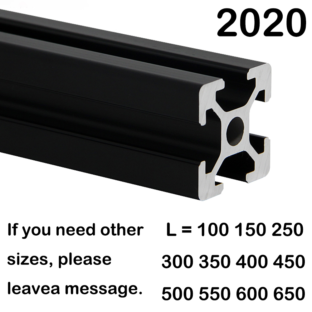 1PC BLACK 2020 European Standard Anodized Aluminum Profile Extrusion 100mm - 800mm Length Linear Rail 500mm For CNC 3D Printer