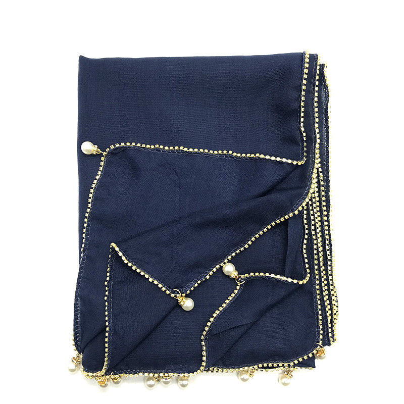 2020 Islamic Cotton Headscarf Women Muslim Rhinestone Hijab Scarf Malaysia Shawls Head Wraps With Chain Foulard Femme Musulman