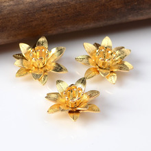 10pcs 6*15mm 7 Color Copper Filigree Flowers Base Connector Bead Cap Charms Setting For DIY Jewelry Making Components Supplies