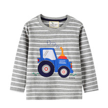 Jumping meters Boys Tshirt Baby Boy Clothes Forklift Pattern Children T shirts Toddler Boy Long Sleeve Tops Tee Brand boy shirt
