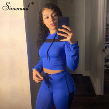 Simenual Sporty Casual Workout Matching Sets Women Mesh Patchwork Fashion Tracksuit Long Sleeve Hooded Top And Pants 2 Piece Set