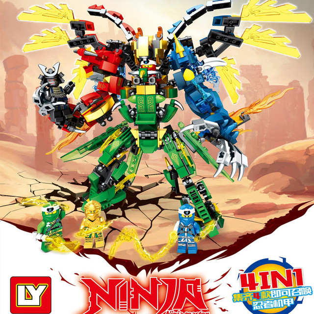 Kids Toys Ninjago 2020 Ninja Dragon Blocks 4in1 Gold Saints Model Building Blocks Kit Classic Bricks Education Toys for Children 2