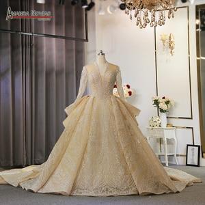 Image 1 - 새로운 럭셔리 반짝이 직물 웨딩 드레스 두바이 디자인 웨딩 드레스 2020