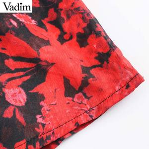 Image 5 - Vadim women fashion floral pattern chiffon dress V neck long sleeve elastic waist stylish midi dresses chic vestidos QD203