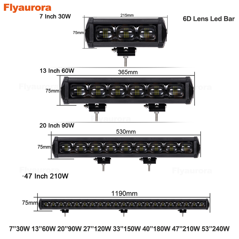 6D Lens Single Row Led 4x4 Offroad Work Light Bar For Off road 4WD Trucks SUV ATV 12V 24V Trailer Motorcycle Car External Lights