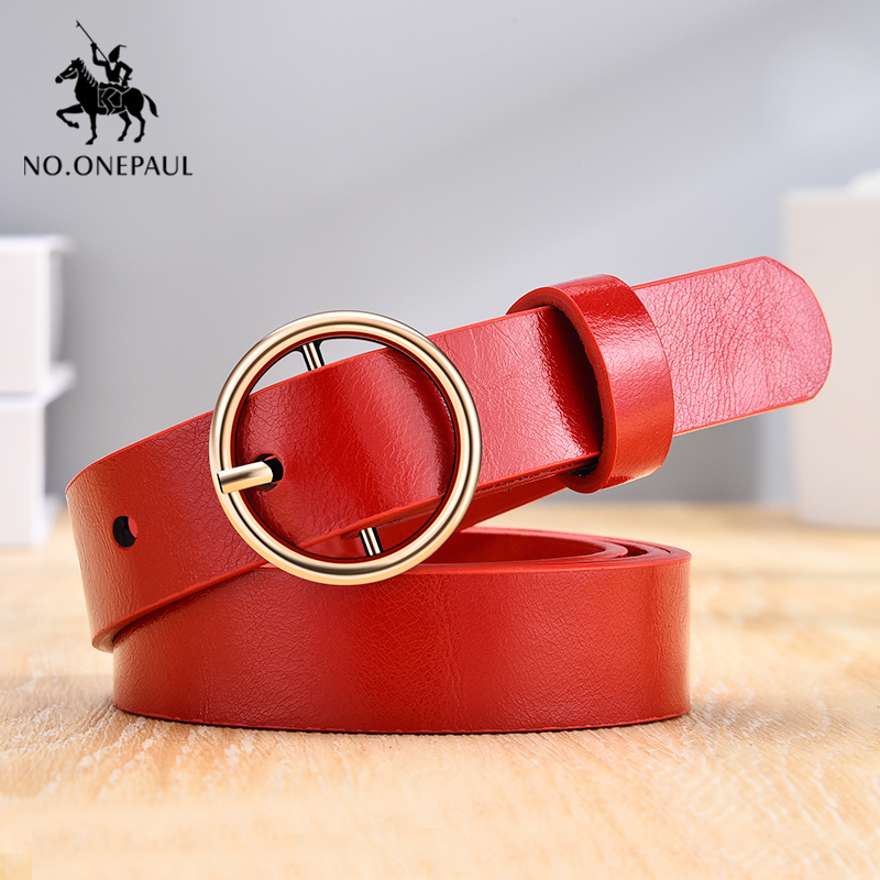 NO.ONEPAUL Women's Simple And Generous Leather Belt Gold Noble Round Alloy Material Pin Buckle Youth Girl Student Waist Belt