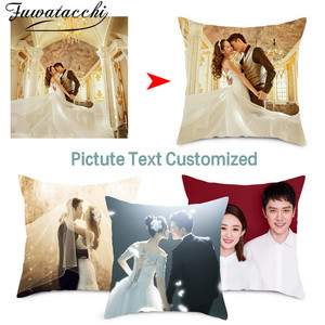 Customize Design Home Decor Pillow Cover Seat Back Cushion Cover, Your Photo Printed on Sofa Throw Pillows Wedding Gift 45*45cm(China)