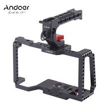 Andoer câmera gaiola vídeo estabilizador + alça superior aperto qr placa 1/4 Polegada 3/8 Polegada 15mm haste braçadeira compatível com câmera 4 k/6 k bmpcc