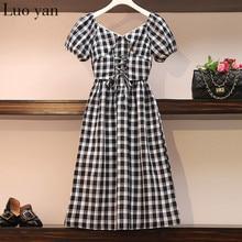 Summer French Vintage Waist Plaid Long Dresses 4XL Plus Size Puff Sleeve Super Fairy Sen Line Salty Sweet Dress Party Vestido