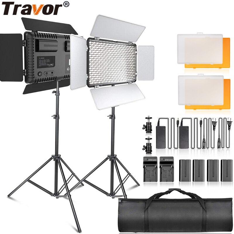 Travor TL-600 2 kit de luz vídeo com tripé pode ser escurecido 5600 k estúdio foto lâmpada led iluminação fotografia para entrevista de notícias de casamento