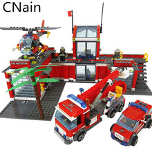 Building Blocks Fire Station Model truck Blocks Compatible with City series Brick Block ABS Plastic Educational Toy For Children цена