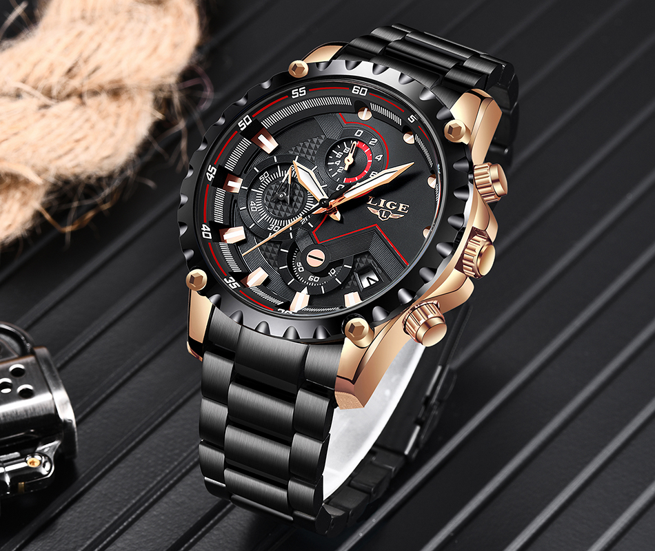 H5f1da827350a47f3a0b3b7304b04aa1fW LIGE Top Brand Luxury Mens Fashion Watch Men Sport Waterproof Quartz Watches Men All Steel Army Military Watch Relogio Masculino