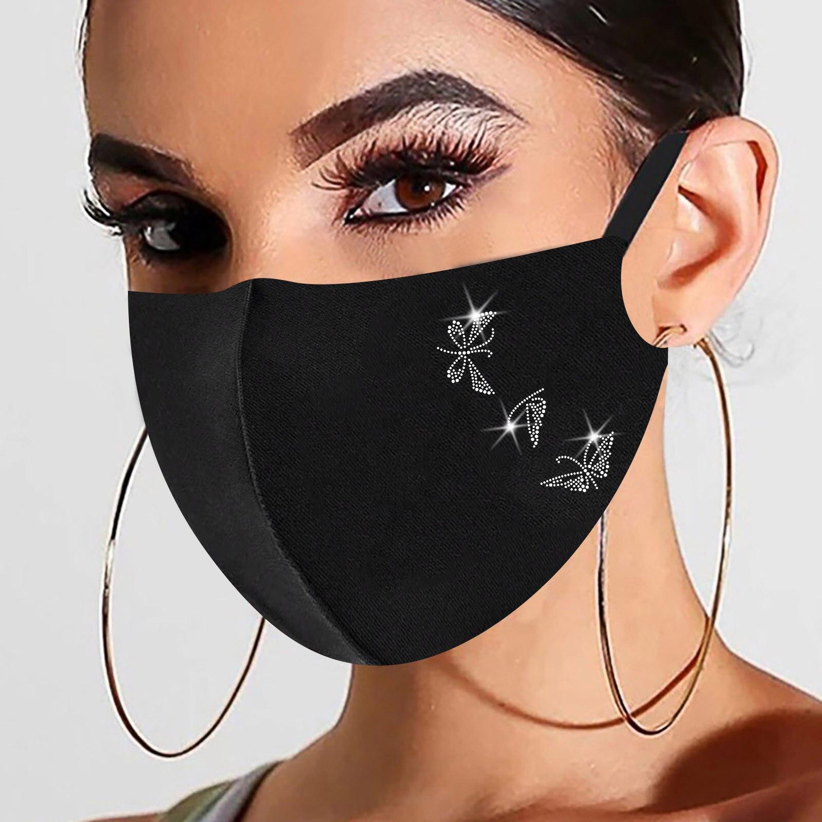 1pc Preto Máscara de Natal Para As Mulheres Na Moda Hot Diamante Impressão de Algodão Máscara Máscaras Маски От Вирусов Dropshipping 4