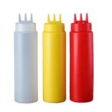 Пластиковая бутылка для соуса с тремя отверстиями, домашний кухонный инструмент, желтый, белый, красный
