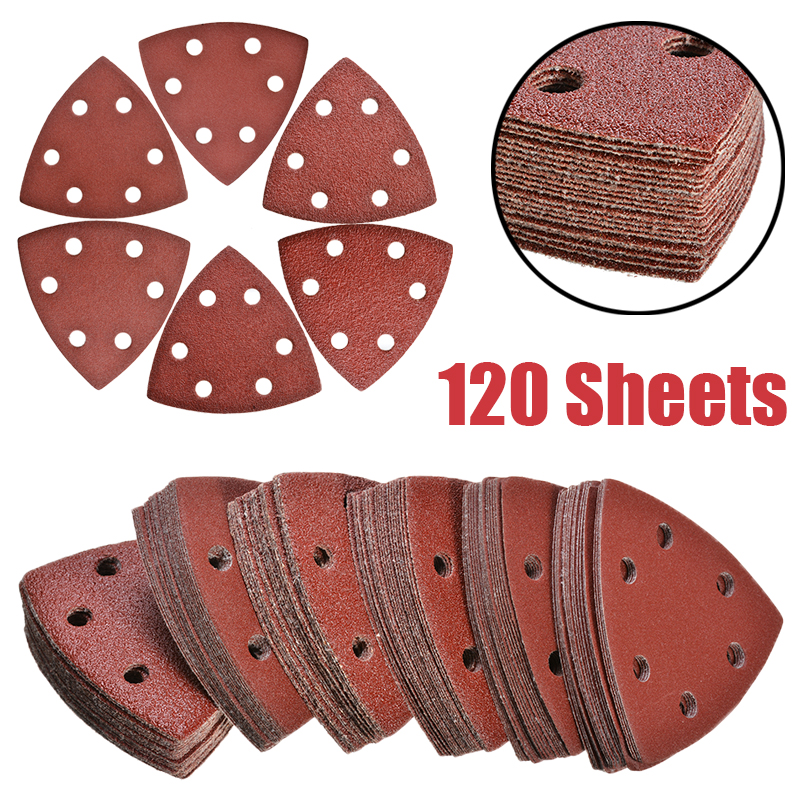 New 120Pcs 6 Holes Triangle Sander Disc 40/60/80/120/180/240 Grit Delta Sandpaper Sheet Hook Loop Sanding Disc For Polishing