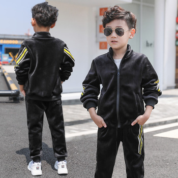 2019 Autumn&Winter Boys Clothing Set Children Striped Casual Pleuche Tracksuit Cardigan Coat+Jogger Trousers Sport Suits 4-10T