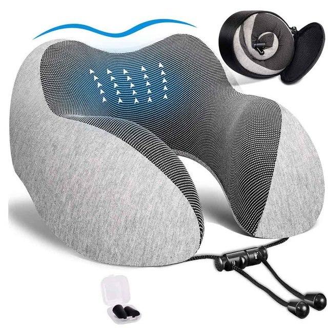 U Shaped Memory Foam Neck Pillows Soft Travel Pillow Neck Cervical Airplane Pillow 30*28*14CM Cervical Travel Healthcare Bedding