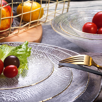 Direct sales new creative glass transparent tableware hammer eye pattern Phnom Penh steak salad cake storage decorative plate