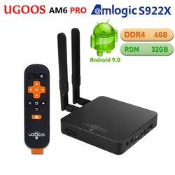 UGOOS AM6 PRO 4GB DDR4 32GB ROM Amlogic S922X Smart Android 9,0 caja de TV 2,4G 5G WiFi 1000M LAN Bluetooth 4K HD reproductor de medios AM6