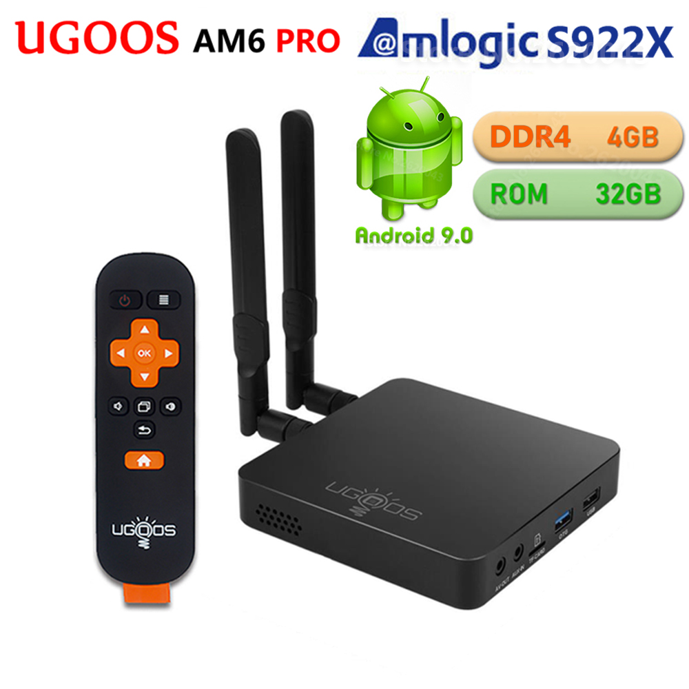 UGOOS AM6 PRO 4GB DDR4 32GB ROM Amlogic S922X Smart Android 9.0 TV Box 2.4G 5G WiFi 1000M LAN Bluetooth 4K HD OTA lecteur multimédia