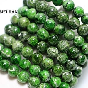 Image 1 - Sprzedaż hurtowa (2 bransoletki/zestaw) oryginalne zielone chromowane diopside 9 10mm gładkie okrągłe luźne kamienne koraliki do biżuterii DIY making