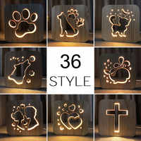 Atacado 36 estilos de madeira cão pata gato animal luz da noite buldogue francês luminaria 3d lâmpada usb alimentado luzes mesa presente natal