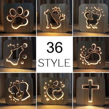 Wholesale 36 Styles Wooden Dog Paw Cat Animal Night Light French Bulldog Luminaria 3D Lamp USB Powered Desk Lights Xmas Gift