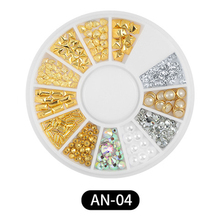 11 Types Gold Silver Nail Charms Metal Rivets Rhinestones 3D Pearl Nail Jewelry DIY Nail Art Decorations Accessories Glue Wheel 1box gold silver mix metal butterfly 3d nail art decorations nail rivets shiny charm strass manicure accessories