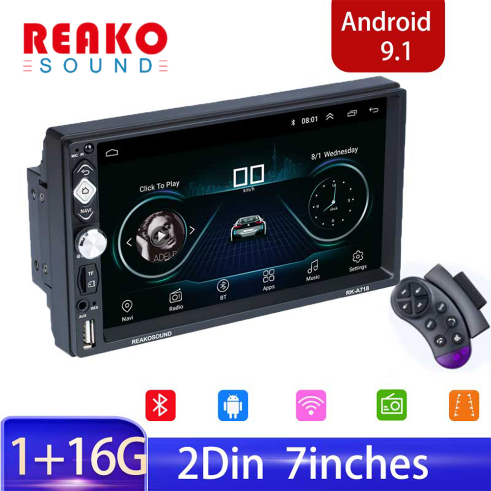 REAKOSOUND 7'' Android 9.1 Car Radio Multimedia Double Din Video Player Universal Auto Stereo GPS Navigation Car Mp5 GPS Player