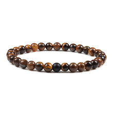 6mm Reiki Tiger Eyes Buddha Natural Stone Bead Thin Strand Bracelets Elastic Bangles Rope Yoga Women & Men Hand Jewelry Pulseira(China)