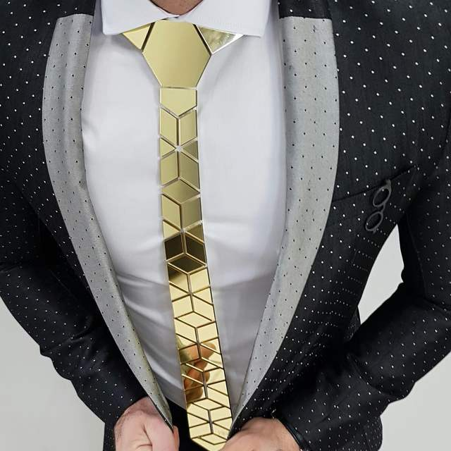 Glossy Gold Mirror Necktie Diamante Shape Slim Men Bling Accessory Wedding Night Club Singer DJ Fashion Show Party Tie Suits
