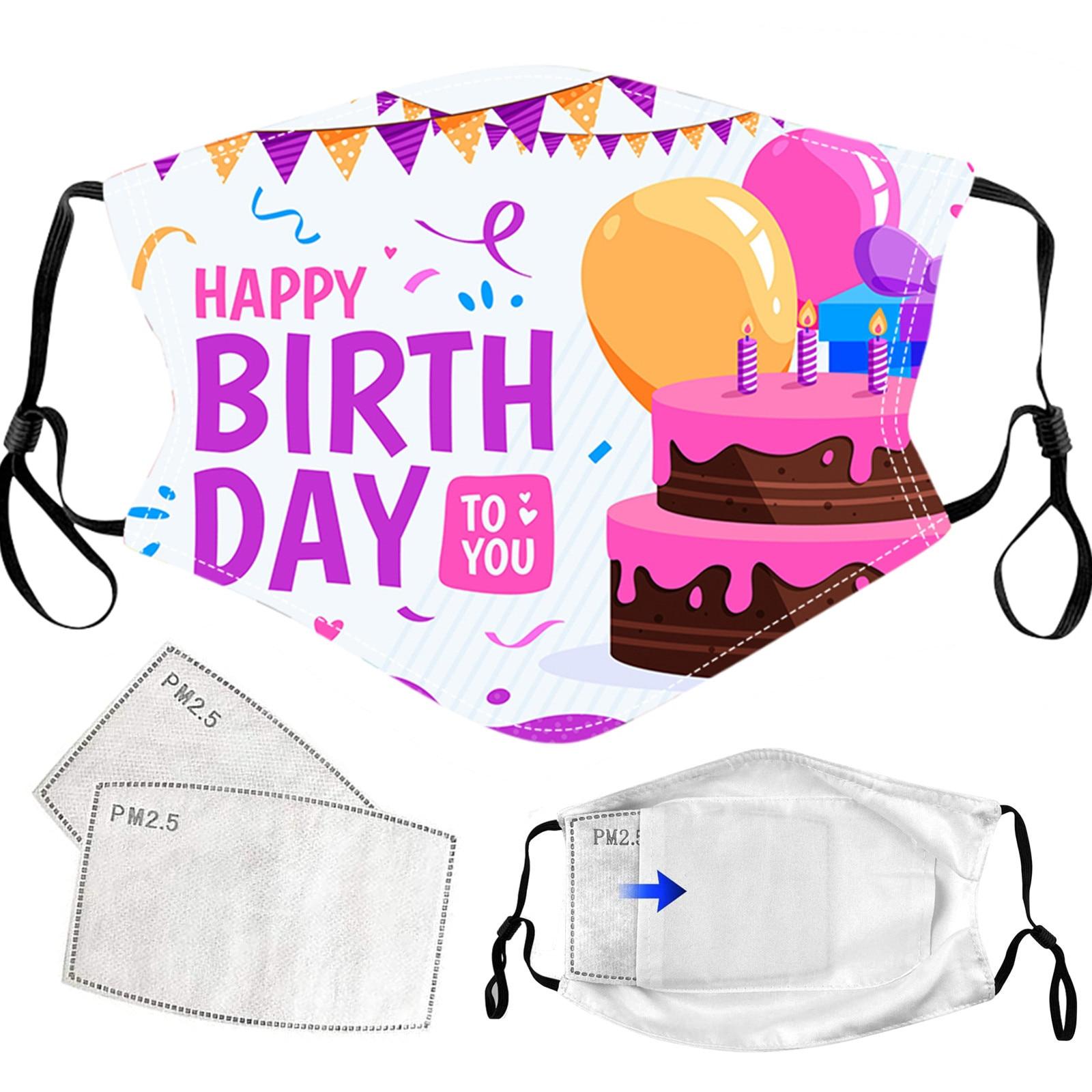 1 шт. с днем рождения маска для лица для взрослых с 2 фильтрами Моющиеся Многоразовые загрязнения рот крышка дышащие маски Faceshield mascaras