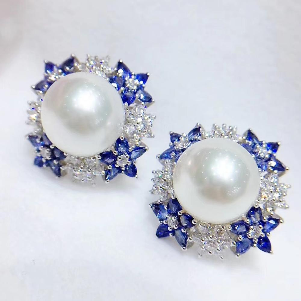 D415 Pearl Earrings Fine Jewelry 925 Sterling Silver Natural 12-13mm Fresh Water White Pearls Stud Earrings for Women Presents