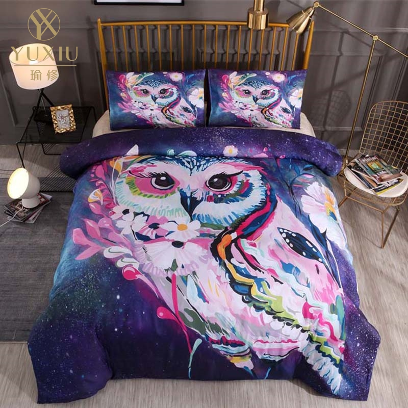 YuXiu Classic Duvet Cover Sets 3D Animal Owl Black Bed Linen Linens Full Queen King Single Twin Size Quilt Covers Bedding Set