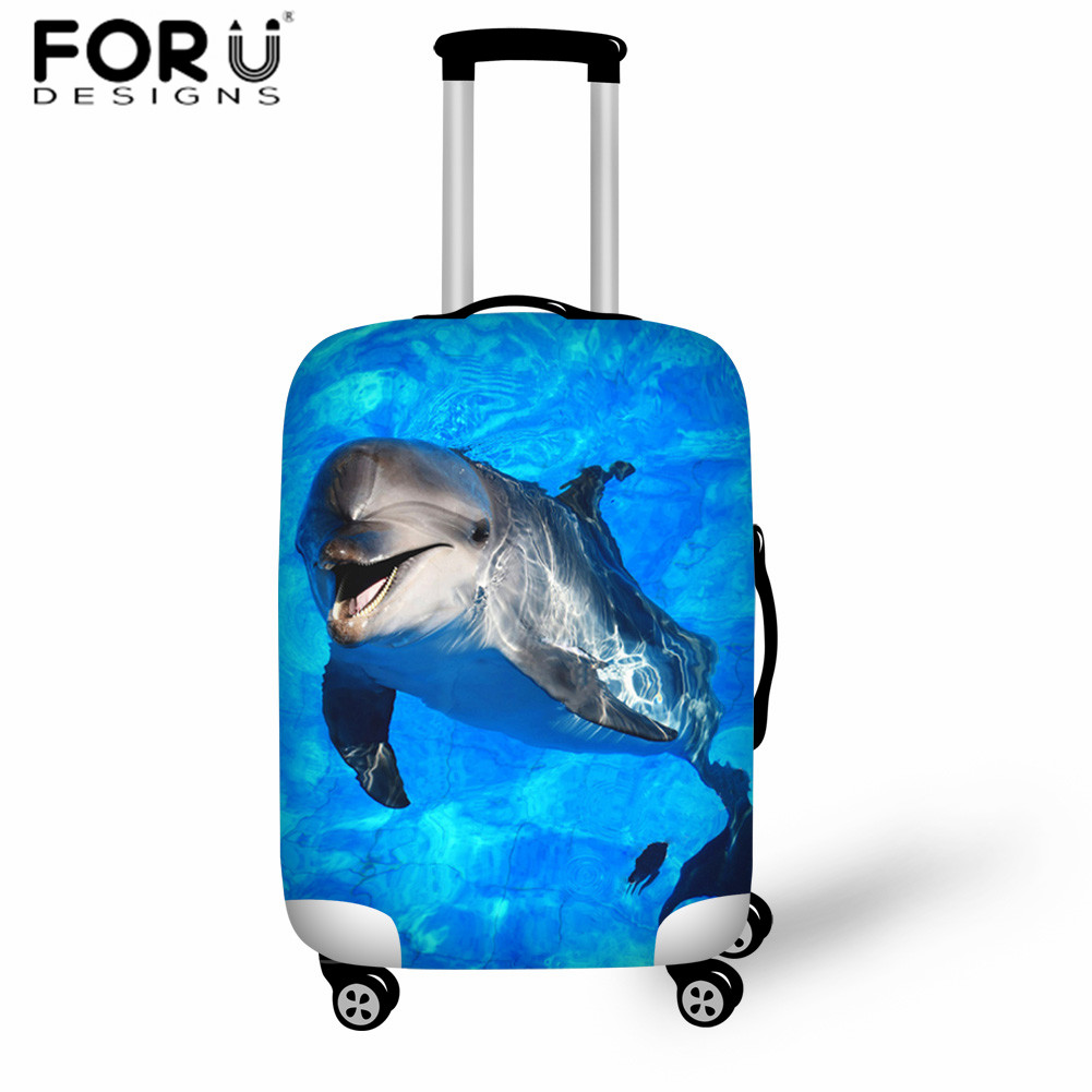 FORUDESIGNS Travel Accessories Elasticity Luggage Cover Blue Dolphin Suitcase Protection Baggage Dust Cover For Trolley Case