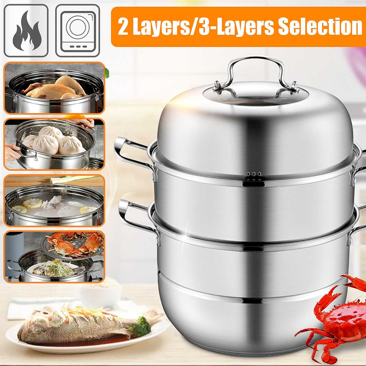 28cm Boiler Soup Pot Stainless Steel Two Three Layer Thick Steamer Pot Universal Cooking Pots for Induction Cooker Gas Stove