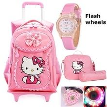 Hello Kitty Children School Bags Kids Backpacks Wheel Trolle