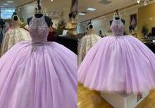Романтический сиреневого цвета с лямкой на шее Бальные платья