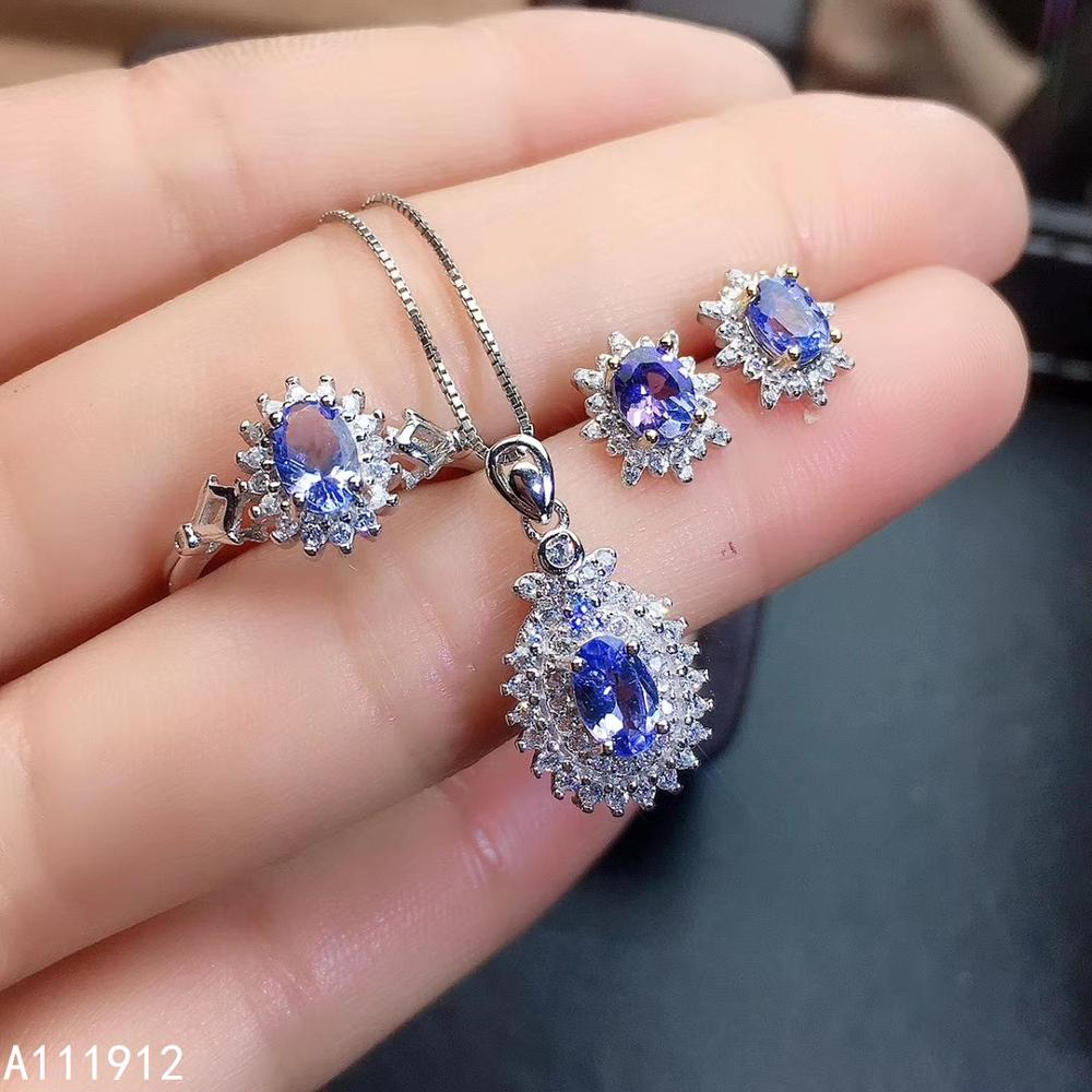 KJJEAXCMY fine <font><b>jewelry</b></font> natural Tanzanite <font><b>925</b></font> sterling <font><b>silver</b></font> women pendant necklace chain earrings ring <font><b>set</b></font> support test noble image