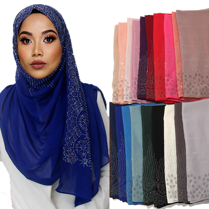 Popular Diaomd Scarf Snow And Wave Plain Bubble Chiffom Hijab Scarf Shawl Bead Wrap Muslim Hijabs