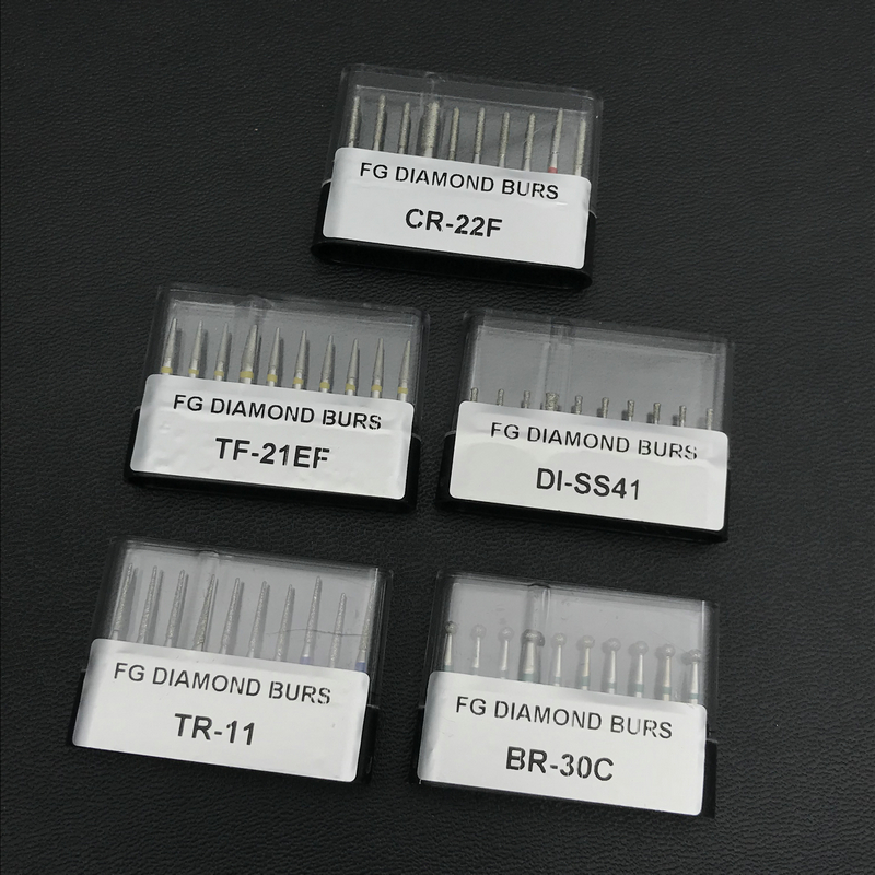 10pcs/pack Dental Diamond Burs FG 1.6mm For High Speed Handpiece Dental Burs 1.6mm (5 Type For Your Selection)