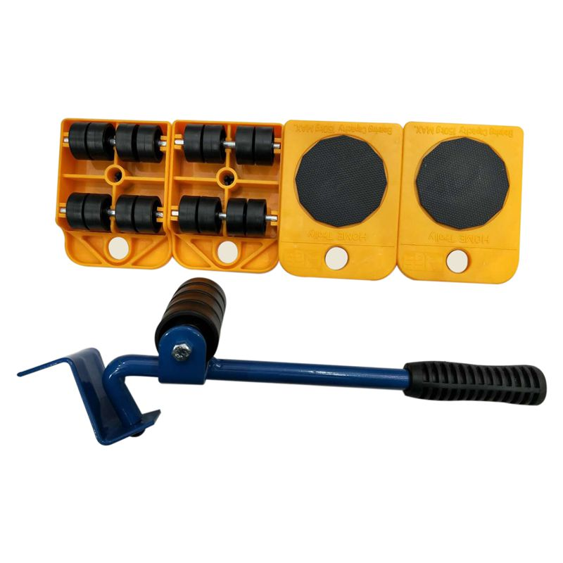 5pcs Furniture Transport Tools Set 4 Wheeled Corner Mover Rollers+1 Wheel Bar Furniture Mover Transport Lifter Tool